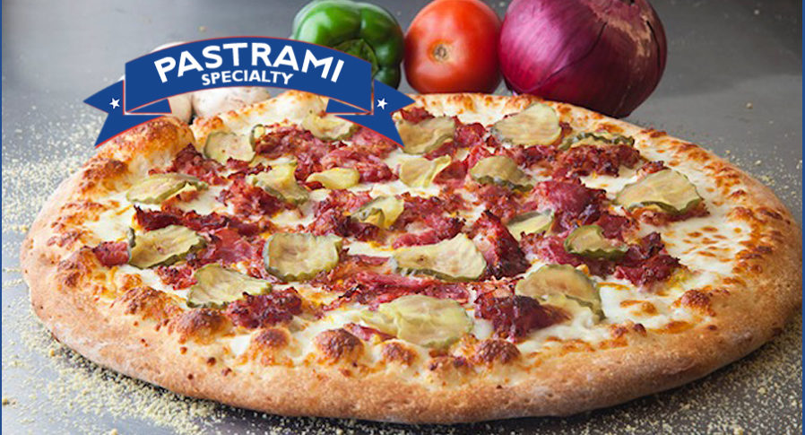 Specialty Pizzas include our Pastrami Pizza is one to try!Pastrami Pizza with Pastrami, Pickles, Mustard, Cheese and our delicious Crust!