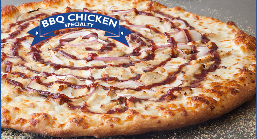 Specialty Pizzas include our BBQ Chicken with Red Onions and yummy cheese!